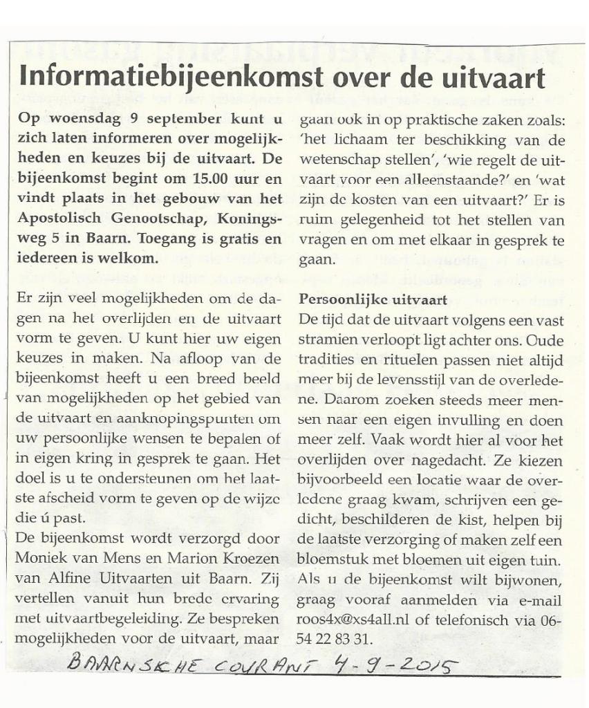 Baarnsche Courant artikel over infobijeenkomst 4-9-2015